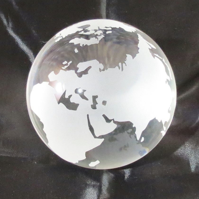 3 inch Opti-Crystal Clear Glass Globe Paperweight from ...