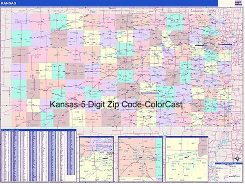 Kansas Zip Code Map From OnlyGlobes