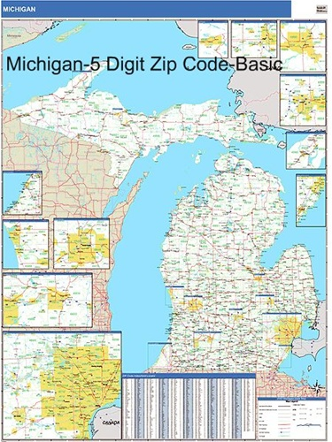 Michigan Zip Code Map With Wooden Rails From OnlyGlobes