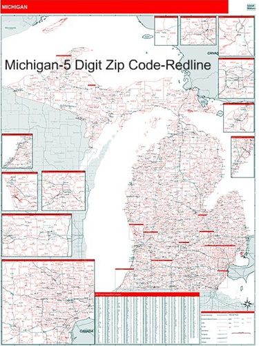 Michigan Zip Code Map with Wooden Rails from
