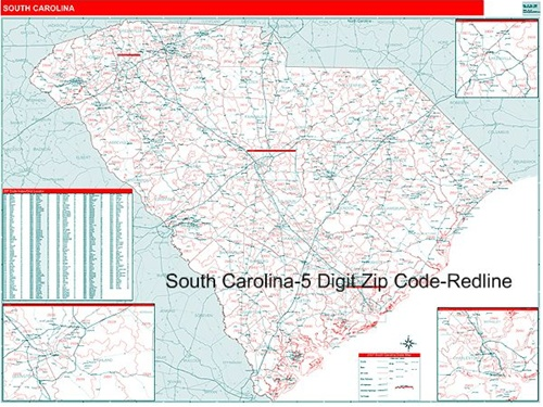 South Carolina Zip Code Map From OnlyGlobes