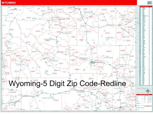 Wyoming Zip Code Map With Wooden Rails From OnlyGlobes