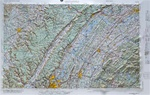 Raised Relief Map of Chattanooga Tennessee, Bumpy Maps