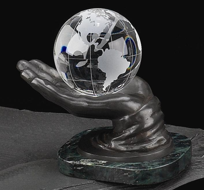Crystal Globe In Hand On Marble Base From Decorative