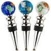 Silver Finish Set Of 3  Gemstone Wine Bottle Stoppers